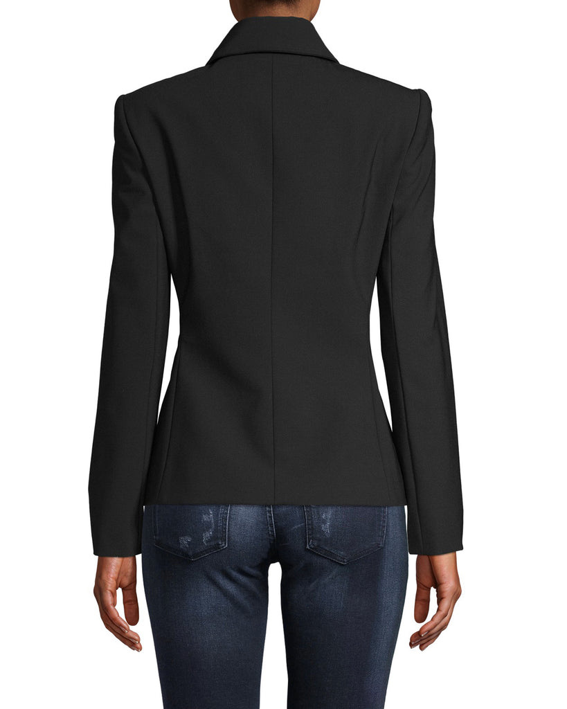 CJ18265 - TUXEDO DETAIL WOOL BLAZER - outerwear - jackets - No more boring blazers. This classic silhouette is updated with a tuxedo front with matte gold ornate buttons and silk details. Add 1 line break Stylist tip: Pair with black pants and a printed top like on our Fall 2020 runway. Alternate View