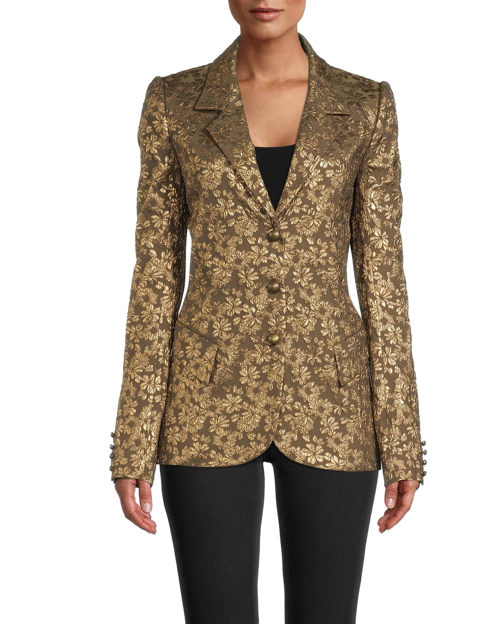 CJ18467 - METALLIC FLORAL JACQUARD BLAZER - outerwear - blazers - This statement blazer is adorned with metallic floral detail throughout. Designed in a classic blazer silhouette with fashionable updates like a slightly puffed sleeve, hidden front buttons and front pockets. Add 1 line break Stylist tip: Style with the matching pants for a standout look.