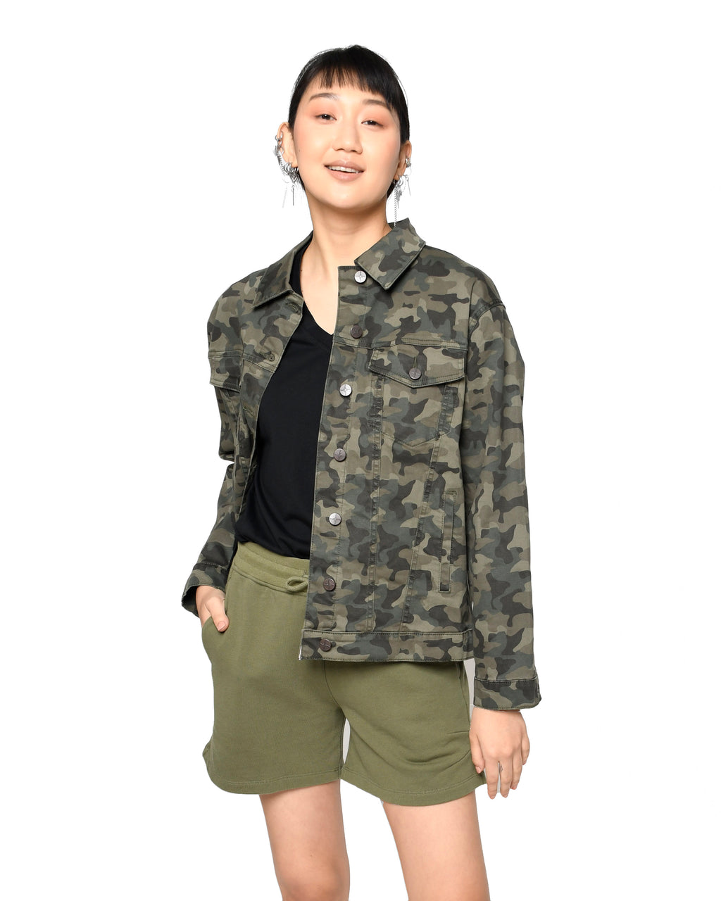 CJ18633 - CAMO OVERSIZED DENIM JACKET - outerwear - jackets - Camo is the new neutral. Our oversized camo denim jacket is the perfect lightweight jacket for any wardrobe. Made from ultra-soft stretch denim. Add 1 line break Stylist Tip: Throw on over almost any outfit for a cool yet casual look.
