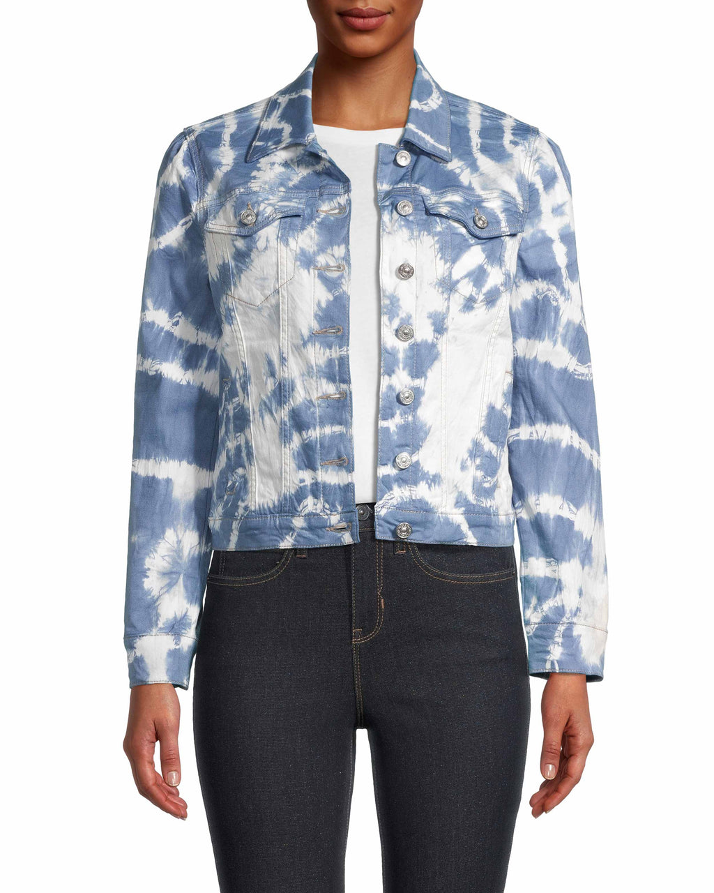 CJ18725 - TIE DYE DENIM JACKET - outerwear - jackets - The classic denim jacket - but with a twist. Our tie dye denim jacket has a slightly croppped silhouette and a puff sleeve for modern details. Add 1 line break Stylist Tip: Throw on over one of our printed dresses for a standout look.