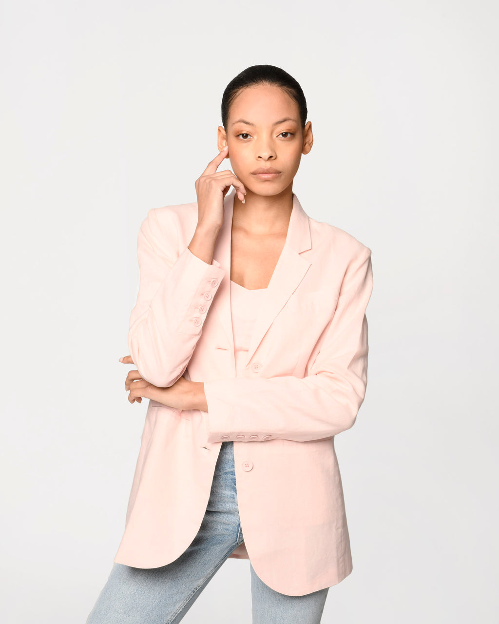 CJ18736 - LINEN OVERSIZED BLAZER - outerwear - blazers - Our linen oversized blazer is the perfect transitional piece from spring to summer. This lightweight piece is designed in a classic blazer silhouette but is updated to be slightly oversized. Add 1 line break Stylist Tip: Pair with our linen crop top for a matching set.