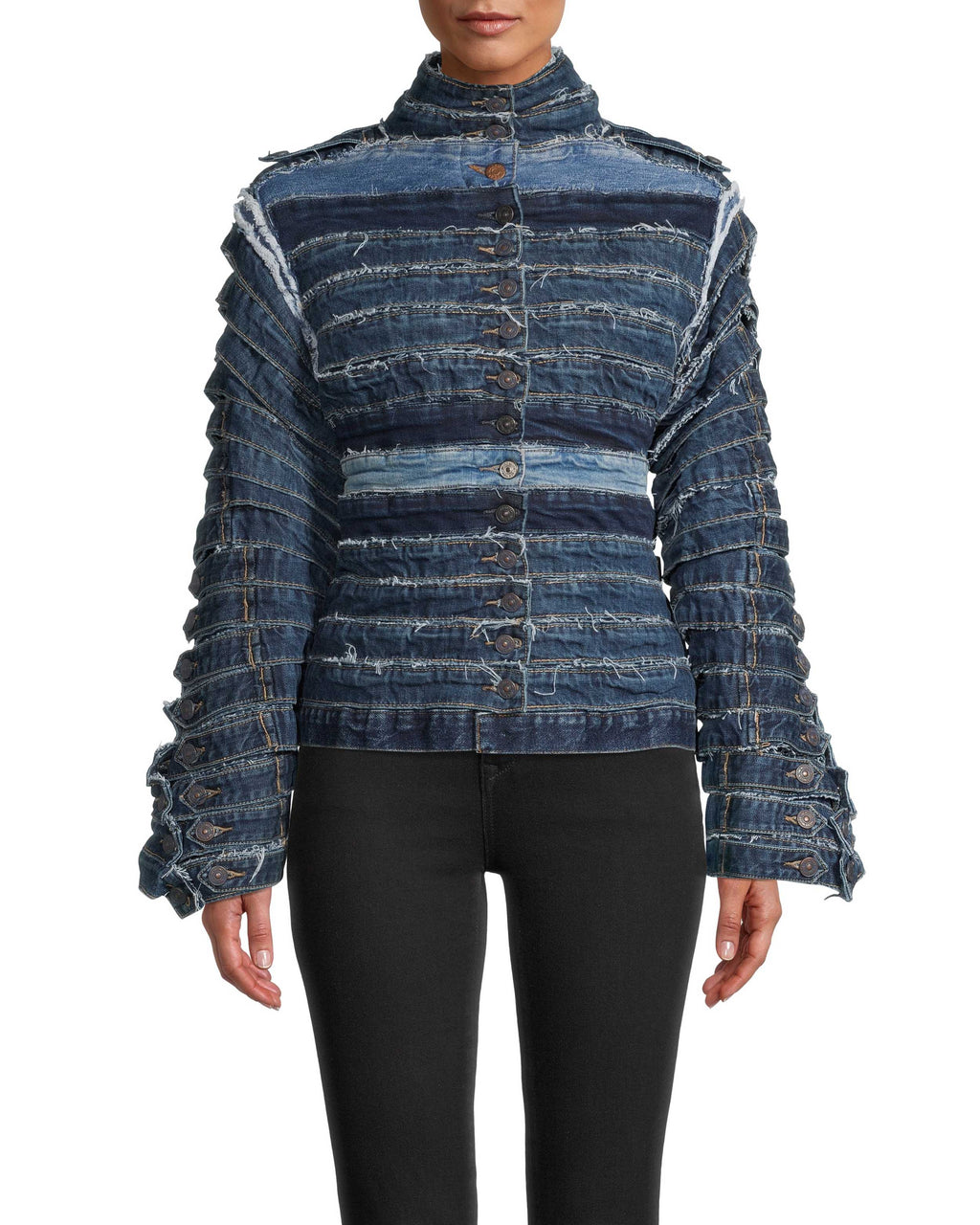 CJ18769 - RECYCLED DENIM WAIST BAND JACKET - outerwear - jackets - Our standout style from Resort has to be this denim jacket. Created from recycled denim waist bands, this truly one of a kind piece is hand made to order in our studio in NYC. This statement piece pairs perfect with white tees and cashmere sweaters alike. Please expect at least 2 weeks for shipment after placing your order.