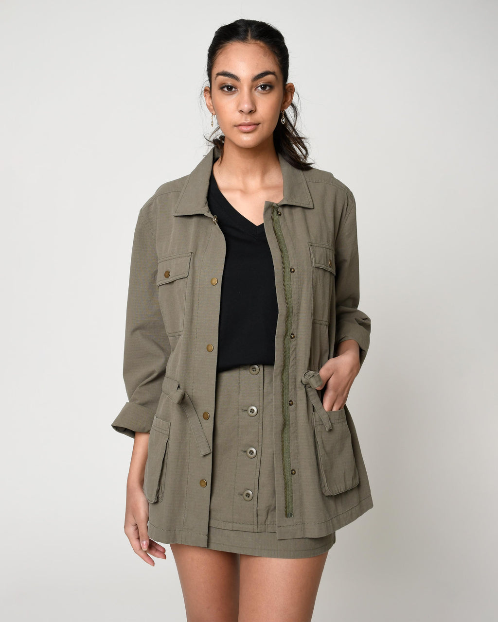 CJ19103 - ARMY RIPSTOP CARGO JACKET - outerwear - jackets - Our army cargo jacket is designed in a lightweight cotton to perfectly transition into spring. Featuring four front pockets, an adjustable cinched waist and a front zipper for closure. Add 1 line break Stylist Tip: Throw on over one of our easy linen dresses for cool spring nights.