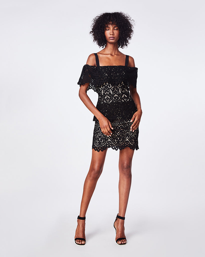 CK10064 - SWIRL LACE MINI DRESS - dresses - short - For the evenings out. Crafted in our Swirl Lace, this black dress is supported by thick straps that meet an unlined flounce. The scalloped hemline creates the perfect finish. Go out and stun. Concealed zipper, nude lining. Final Sale Alternate View