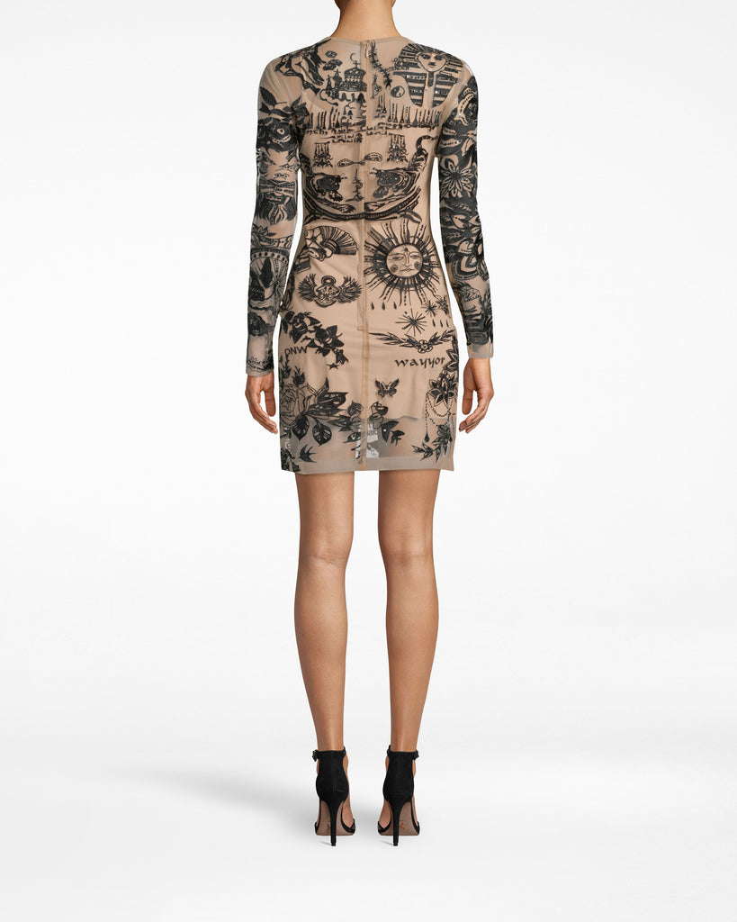 CK20079 - TATTOO MESH LONG SLEEVE MINI DRESS - dresses - short - Tattoos look cooler on a dress. They're showcased all over the body of this long sleeve style, which lays loosely (yet fitted) on your frame. Pair back with ankle strap heels. Embellishments may vary. Alternate View