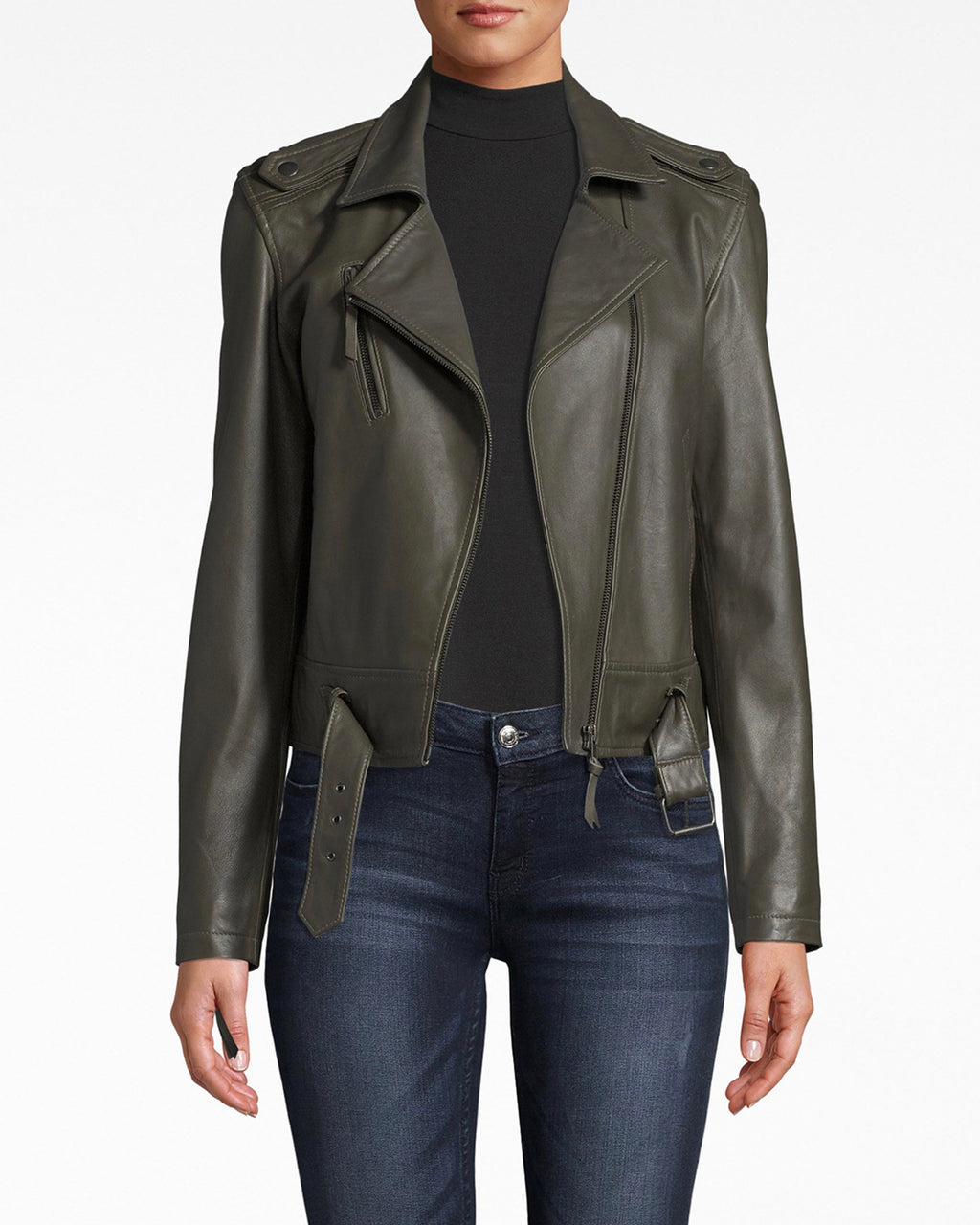 CL10036 - LEATHER MOTO JACKET - outerwear - jackets - Ready for leather jacket season? The tailoring and fit of this moto jacket create a simple and chic silhouette. Pair over anything.