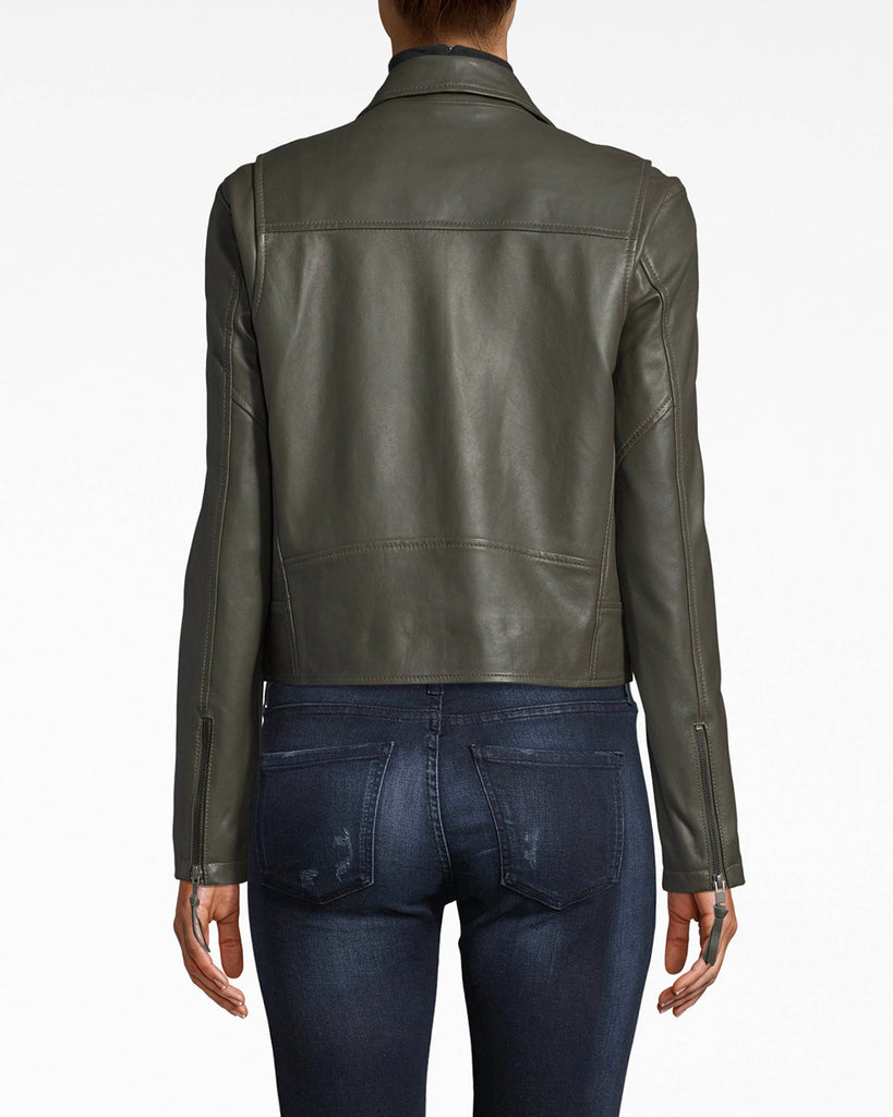 CL10036 - LEATHER MOTO JACKET - outerwear - jackets - Ready for leather jacket season? The tailoring and fit of this moto jacket create a simple and chic silhouette. Pair over anything. Alternate View