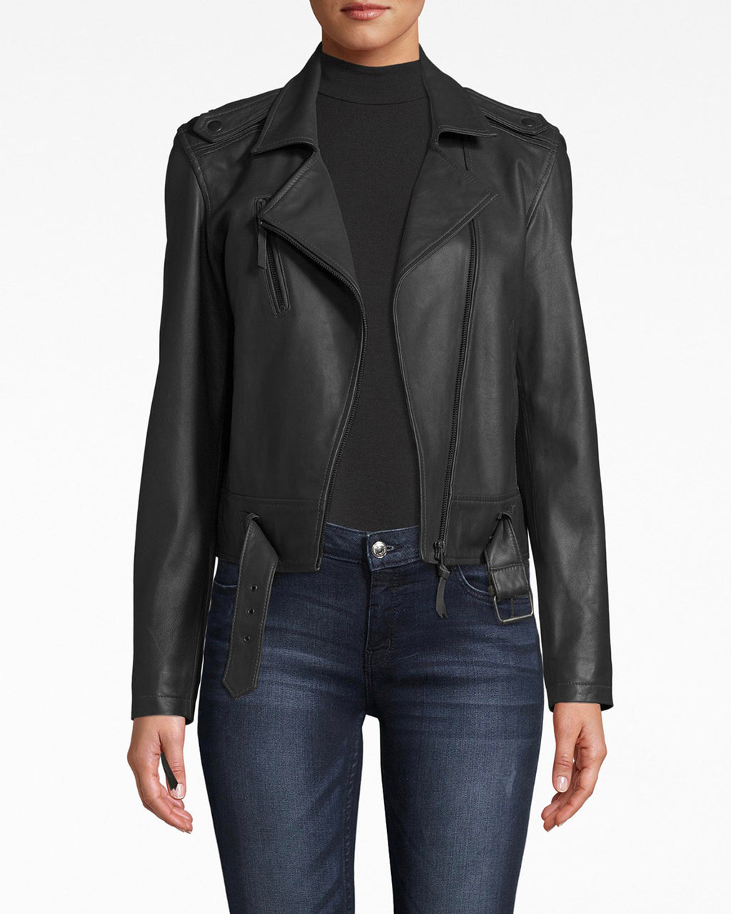 CL10036 - LEATHER MOTO JACKET - outerwear - jackets - Ready for leather jacket season? The tailoring and fit of this moto jacket create a simple and chic silhouette. The army green shade adds a dose of utilitarianism. Pair over anything.