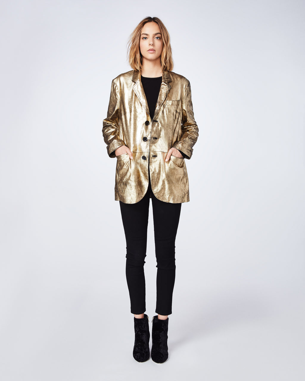 CM10045 - DISTRESSED LEATHER BOYFRIEND JACKET - outerwear - leather - Made with 100% lamb leather, this flashy gold jacket is meant to be worn oversized.