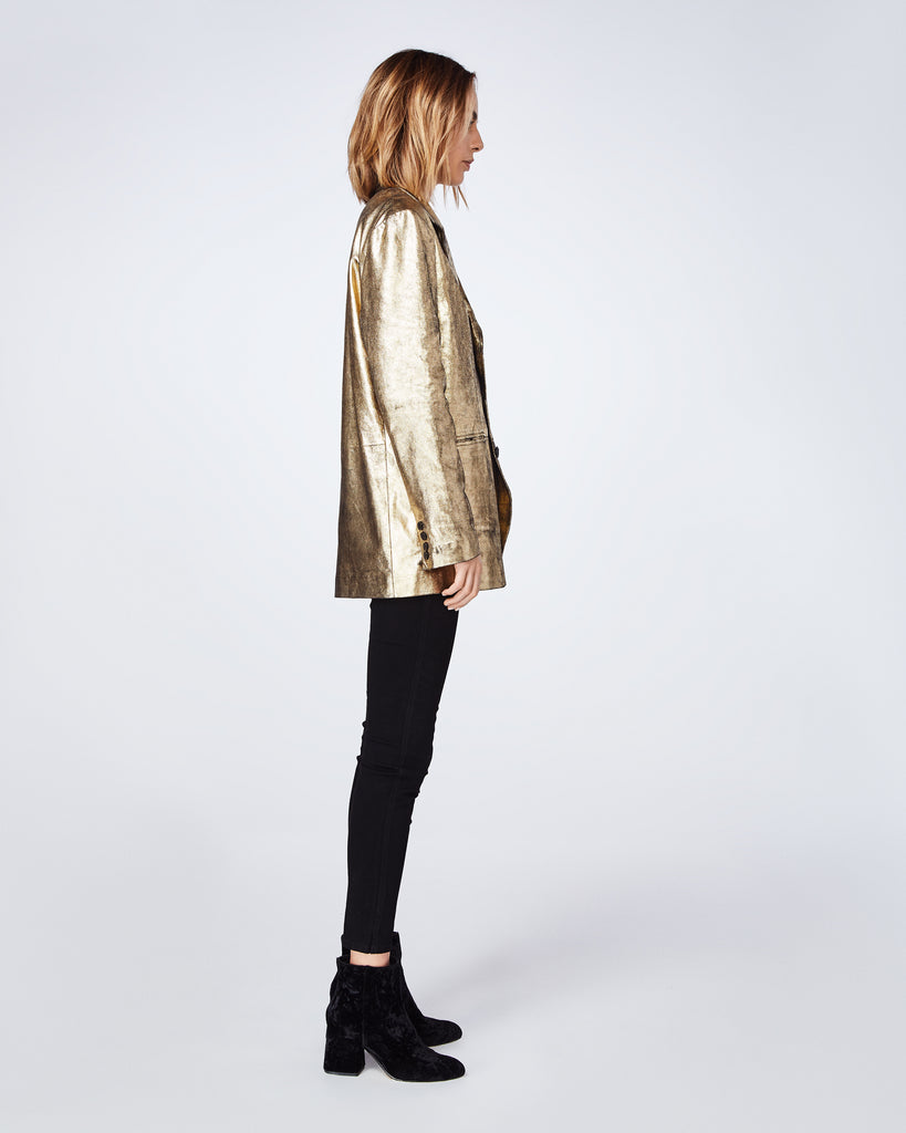 CM10045 - DISTRESSED LEATHER BOYFRIEND JACKET - outerwear - leather - Made with 100% lamb leather, this flashy gold jacket is meant to be worn oversized. Alternate View