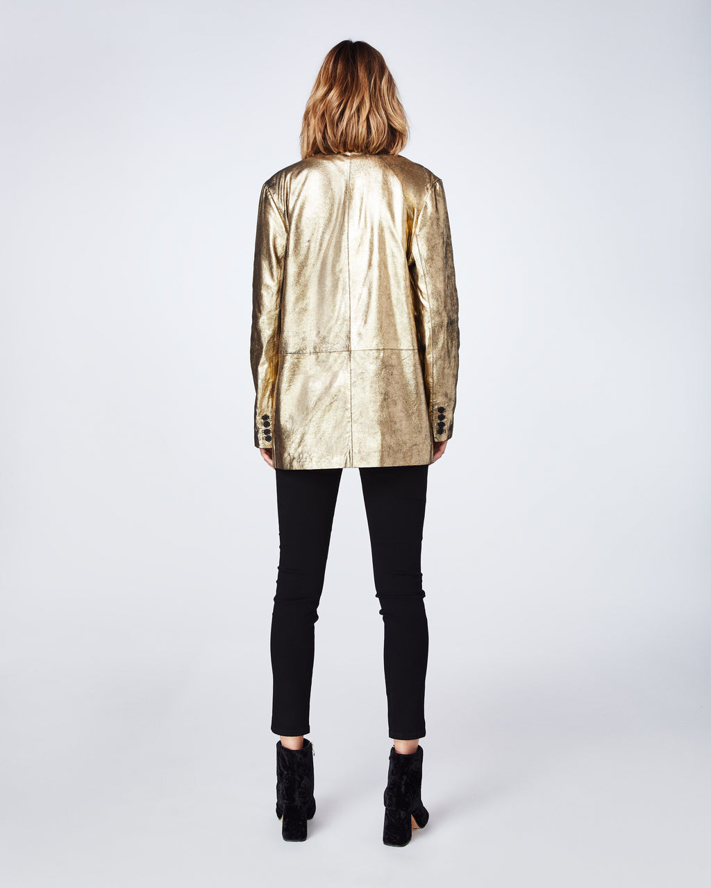 CM10045 - DISTRESSED LEATHER BOYFRIEND JACKET - outerwear - jackets - Made with 100% lamb leather, this flashy gold jacket is meant to be worn oversized.