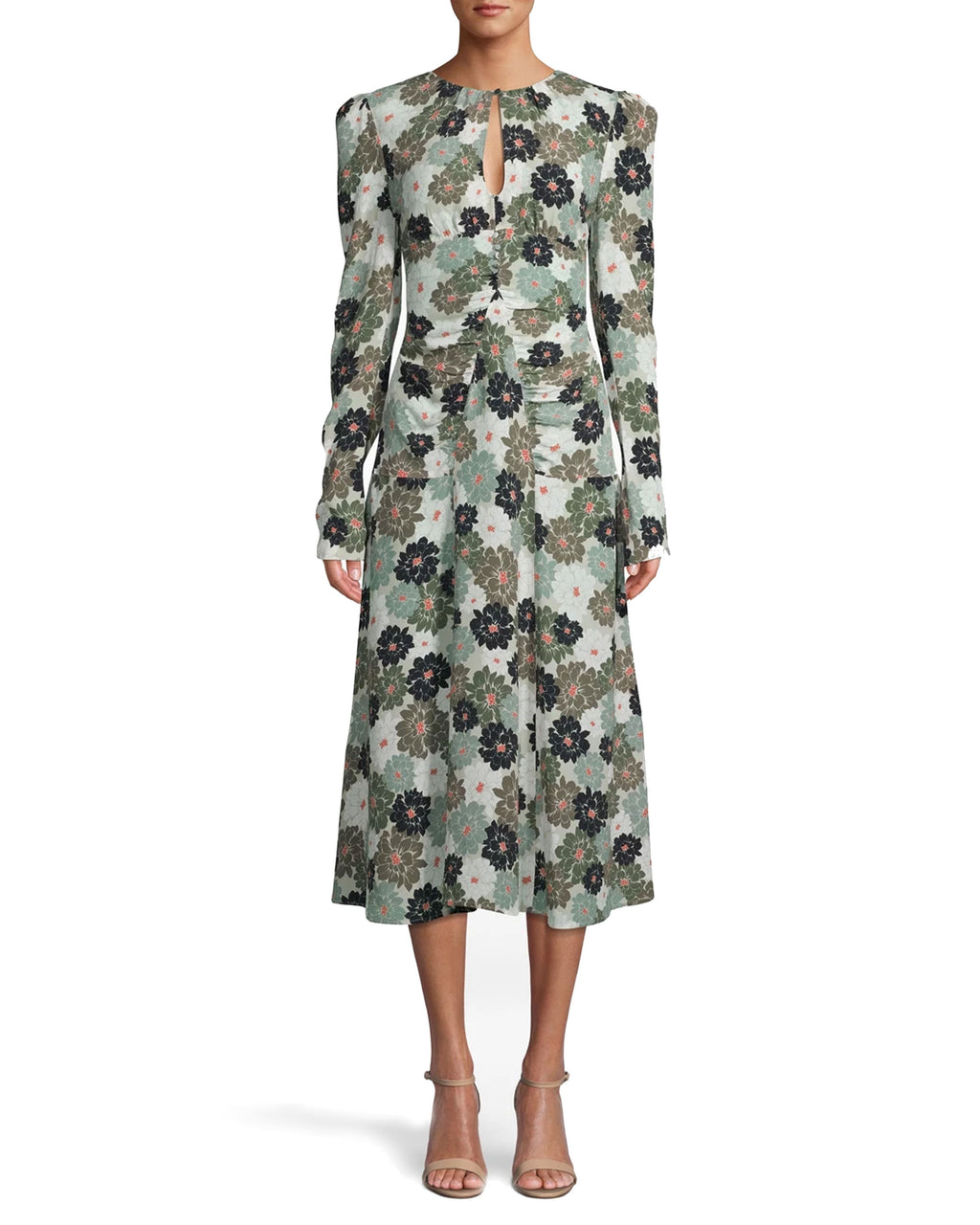 CM17983 - CAMO DELILAH SILK LONG SLEEVE KEYHOLE DRESS - dresses - midi - WITH A BOLD FLORAL PRINT, AIRY SILK FABRIC AND KEYHOLE CUTOUT, THIS MIDI DRESS WAS MADE FOR LATE SUMMER SOIREES. THE SLEEVES FEATURE A SUBLTE PUFF DETAIL WHILE THE WAIST IS RUCHED FOR A SLIMMING FIT. KEYHOLE BACK WITH BUTTONS FOR CLOSURE. Add 1 line break STYLIST TIP: WEAR WITH NEUTRAL HEELS AND SIMPLE JEWELRY.