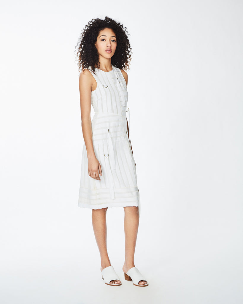 CO10098 - GROSGRAIN DRESS - dresses - short - With belted ribbon details, this white dress is a wardrobe essential. This sleeveless dress is perfectly light for warmer days and pairs perfectly with slides. Finished with a concealed zipper for closure and unlined. Final Sale Alternate View