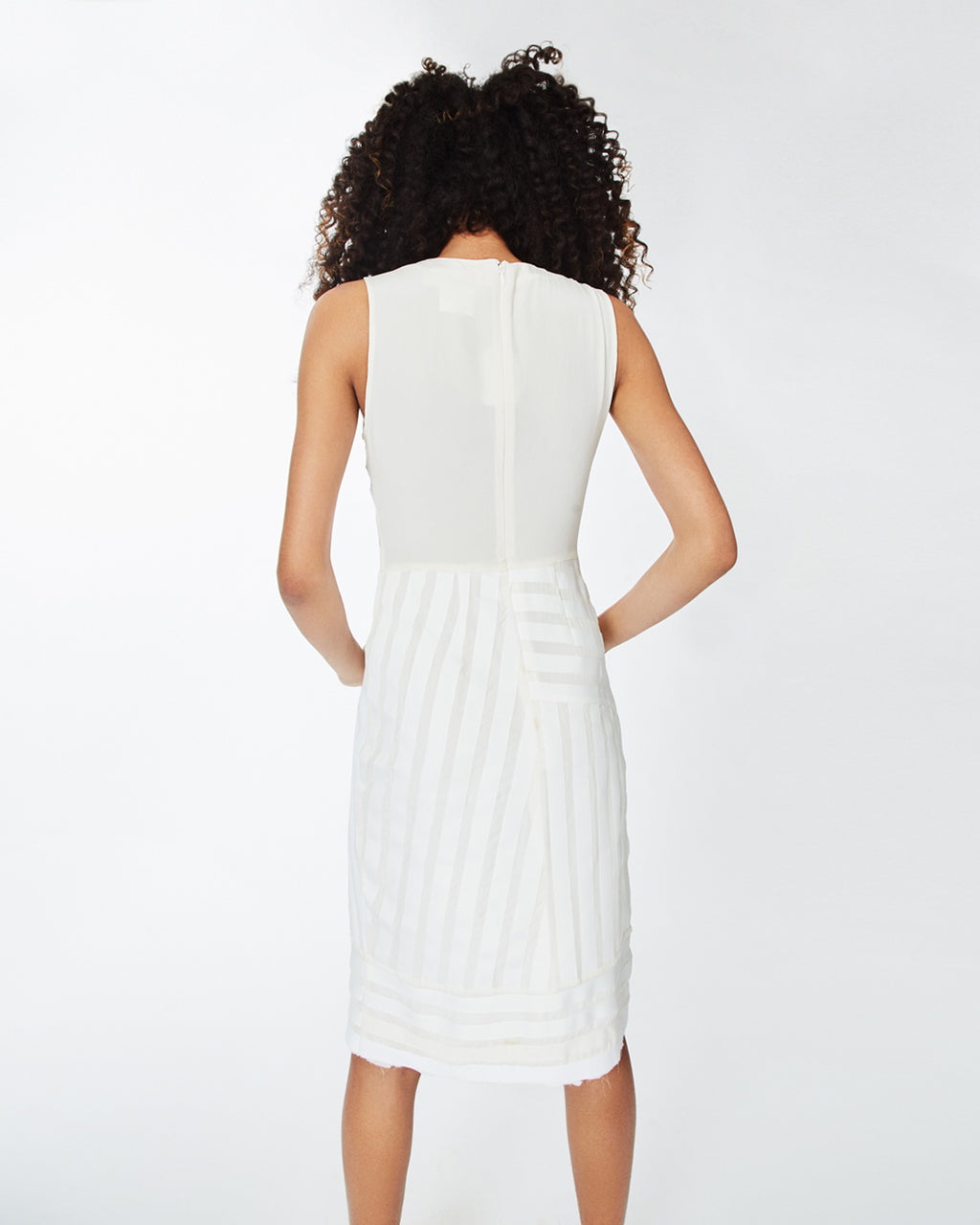 CO10098 - GROSGRAIN DRESS - dresses - short - With belted ribbon details, this white dress is a wardrobe essential. This sleeveless dress is perfectly light for warmer days and pairs perfectly with slides. Finished with a concealed zipper for closure and unlined. FINAL SALE