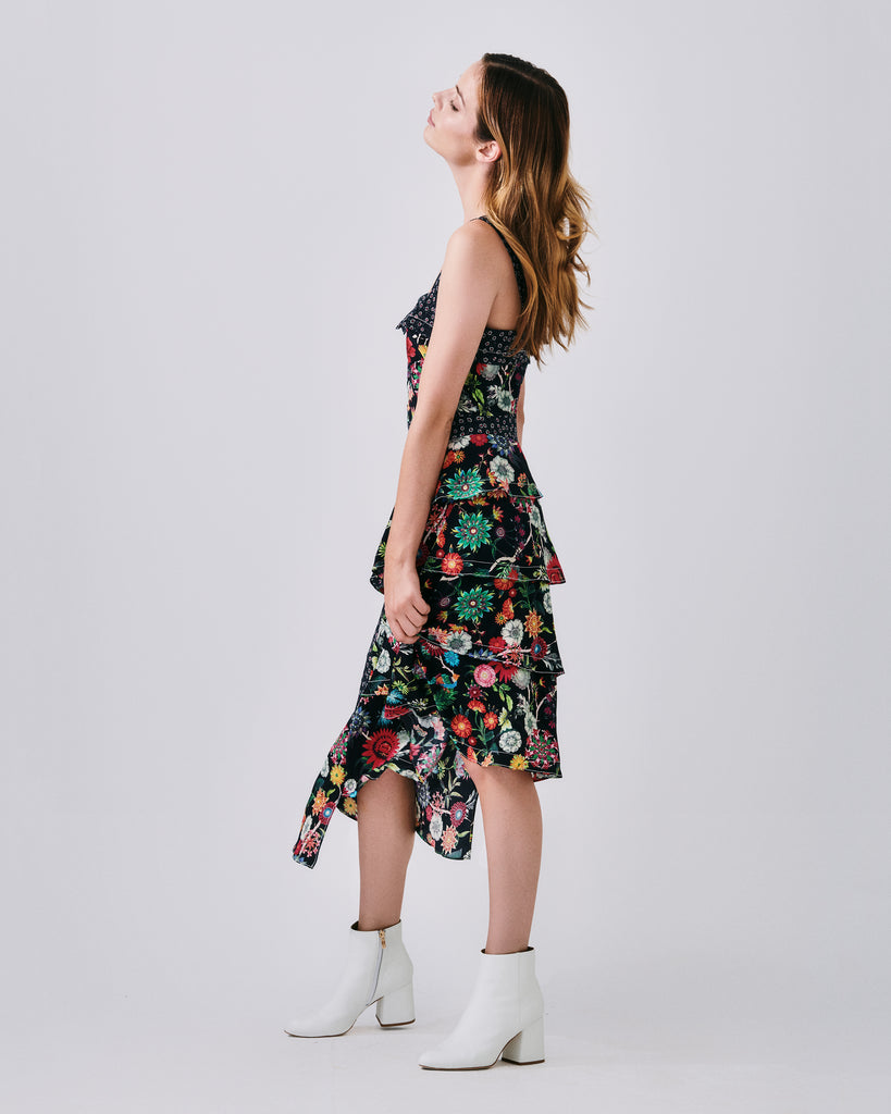 CO10104 - FLORAL NECTARY ASYMMETRICAL DRESS - dresses - midi - The dress for all occasions and all seasons. In a floral print, this midi dress features an asymmetrical hem line and square neckline. Finished with a concealed zipper for closure and fully lined.� Final Sale Alternate View
