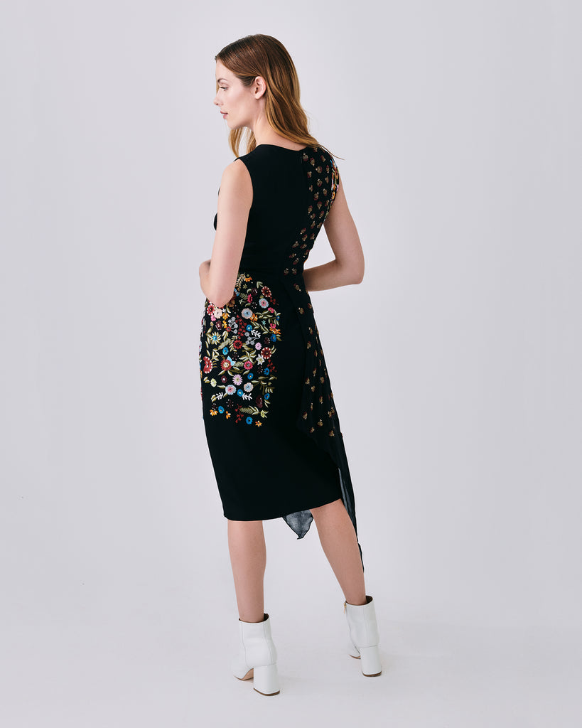 CO10108 - EMBELLISHED FLORAL NECTARY ASYMM DRESS - dresses - midi - With a scoop neckline and subtle shoulder cutout, this black dress features floral embellishment andan asymmetrical hemline. Finished with a concealedzipper and fully lined.� Alternate View