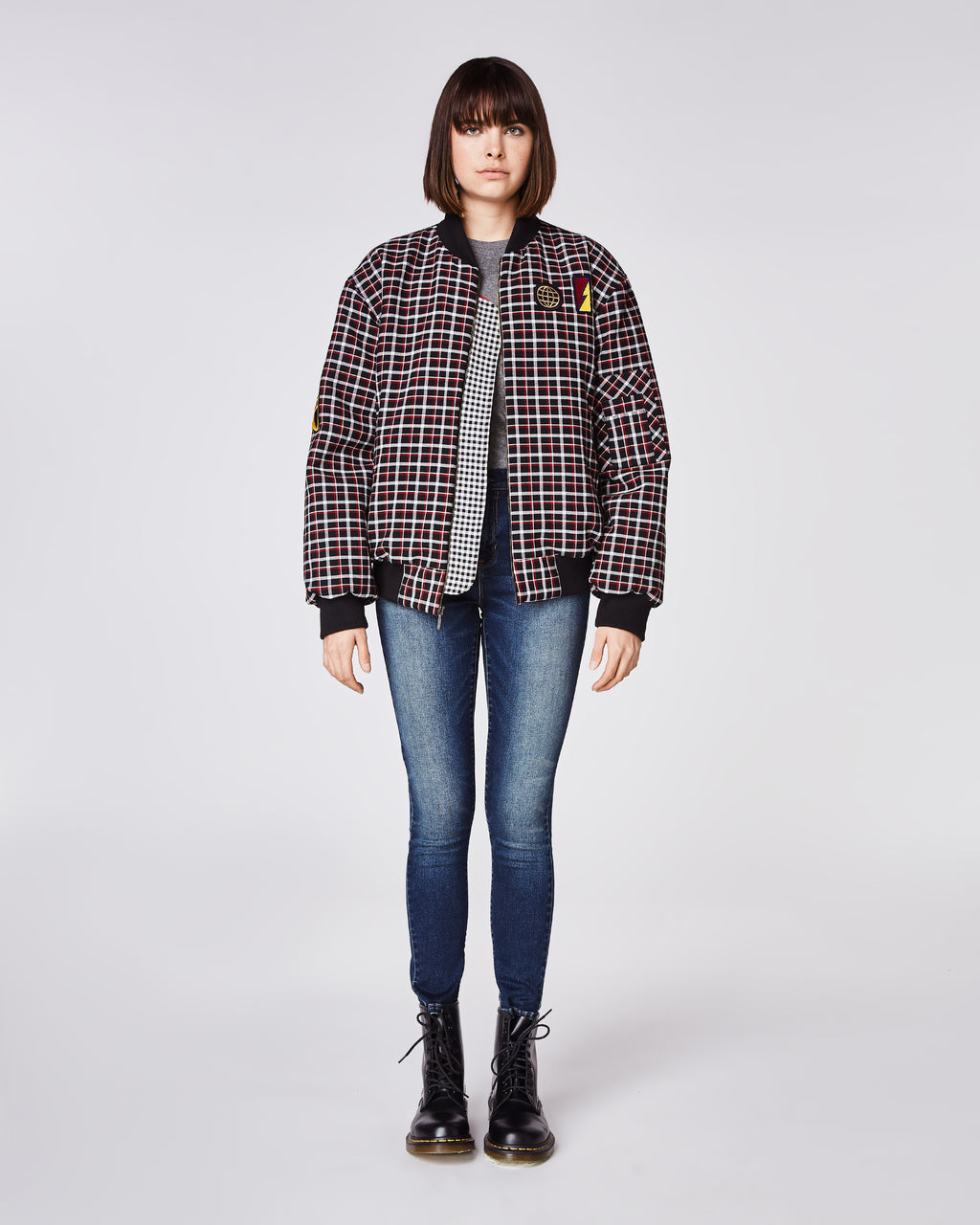 CO10116 - REVERSE PLAID EMB BOMBER JACKET - outerwear - jackets - With patch details, this plaid oversized bomber features a vibrant green lining and elastic cuffs.Finished with an embellished eagle on the back andexposed zipper for closure. Bomber is meant to fitoversized, for a smaller fit order a size down.