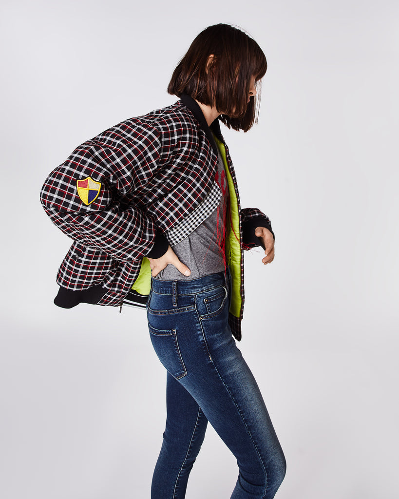 CO10116 - Reverse Plaid Bomber Jacket - outerwear - jackets - SECRET: THERE'S AN EAGLE ON THIS JACKET. THIS OVERSIZED PLAID BOMBER FEATURES VIBRANT GREEN LINING, ELASTIC CUFFS, AND COOL PATCH DETAILING. FOR A SMALLER FIT, SIZE DOWN. Alternate View