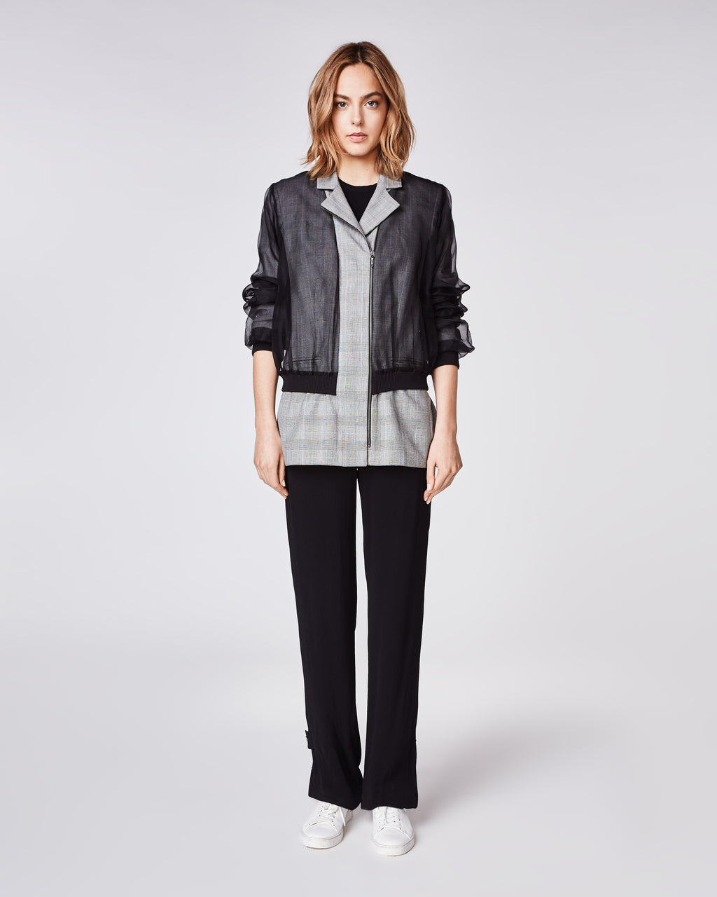 CO10117 - GLEN PLAID COMBO ZIP FRONT JACKET - outerwear - jackets - With a layered organza bomber, this unique plaid jacket features ribbed cuffs and subtle shoulder pad. Finished with an asymmetrical zipper and fully lined
