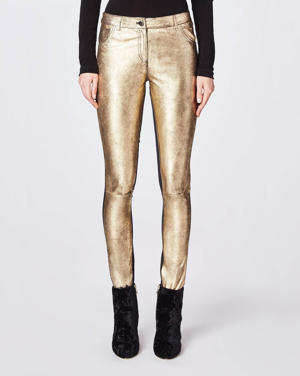 CO10120 - DISTRESSED LEATHER SKINNY PANT - bottoms - pants - This skinny pant features a 100% lamb leather front with stretch denim back.