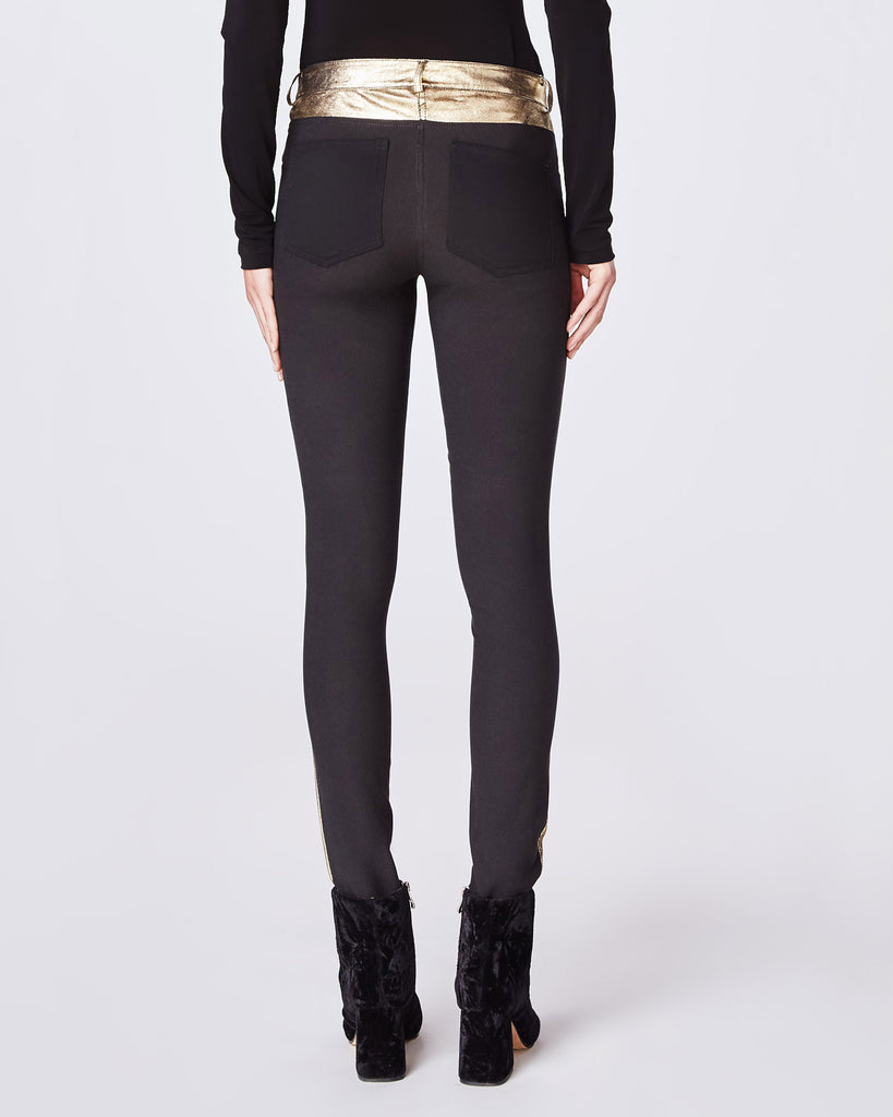 CO10120 - DISTRESSED LEATHER SKINNY PANT - bottoms - pants - This skinny pant features a 100% lamb leather front with stretch denim back. Alternate View