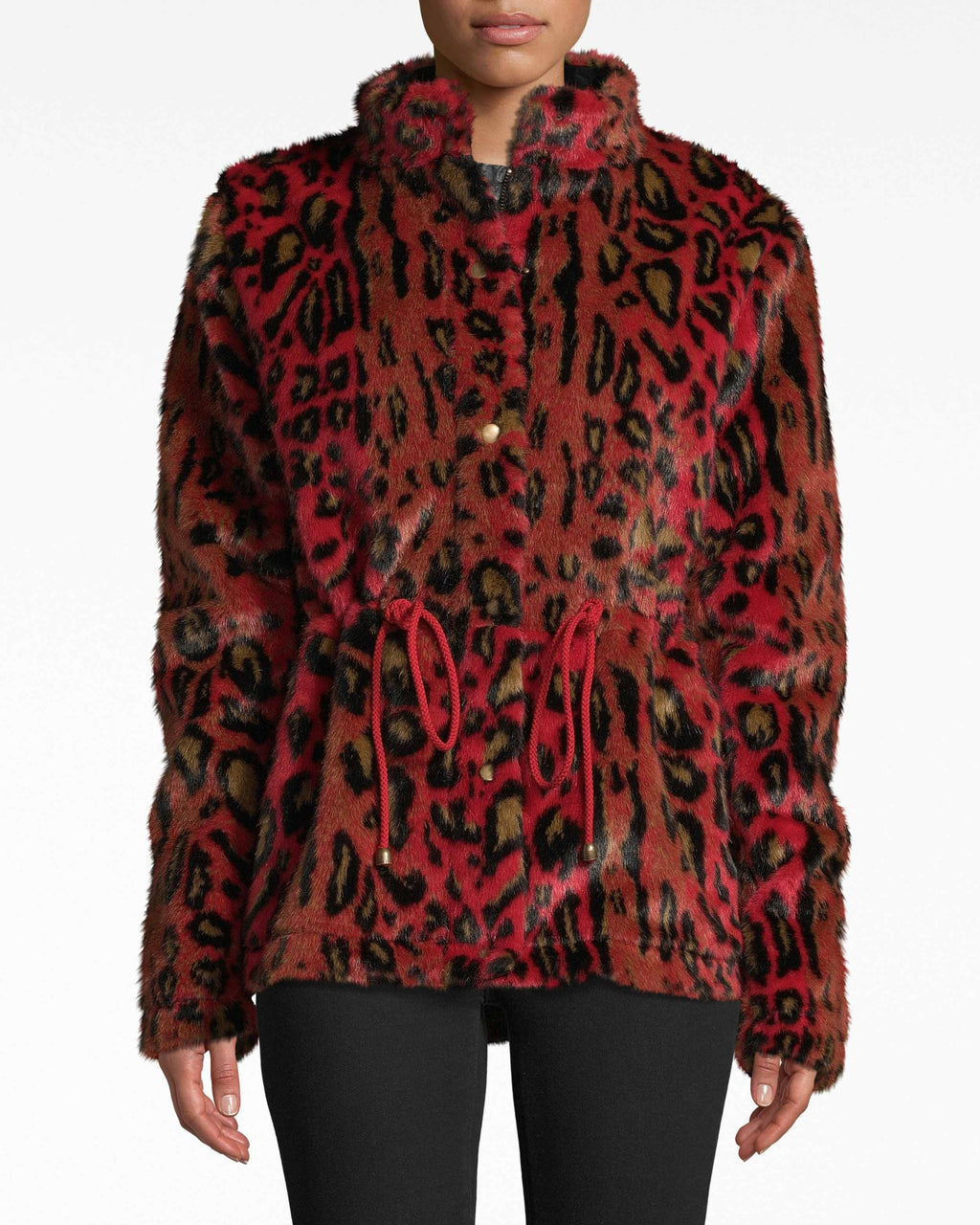 CO10134 - LEOPARD FAUX FUR ANORAK JACKET - outerwear - jackets - How fierce. This faux fur leopard jacket is your new attention-grabber. The boldc colors are cushioned on super cozy fabrics. Ajustable drawstrings cinch in the body. Front zipper for closure.