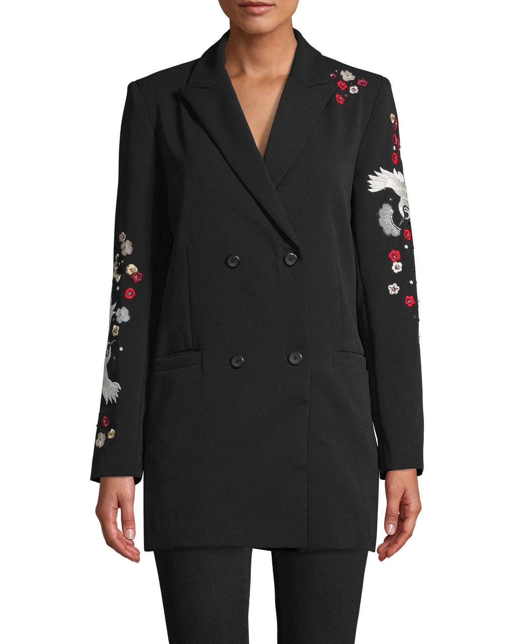 CO10135 - CRANE AND CHERRY BLOSSOM EMBROIDERED BLAZER - tops - shirts - NO MORE BORING BLAZERS. THIS DOUBLE BREASTED BLAZER IS ADORNED WITH CRANE AND CHERRY BLOSSOM EMBROIDERY UP THE SLEEVES AND ON THE BACK.