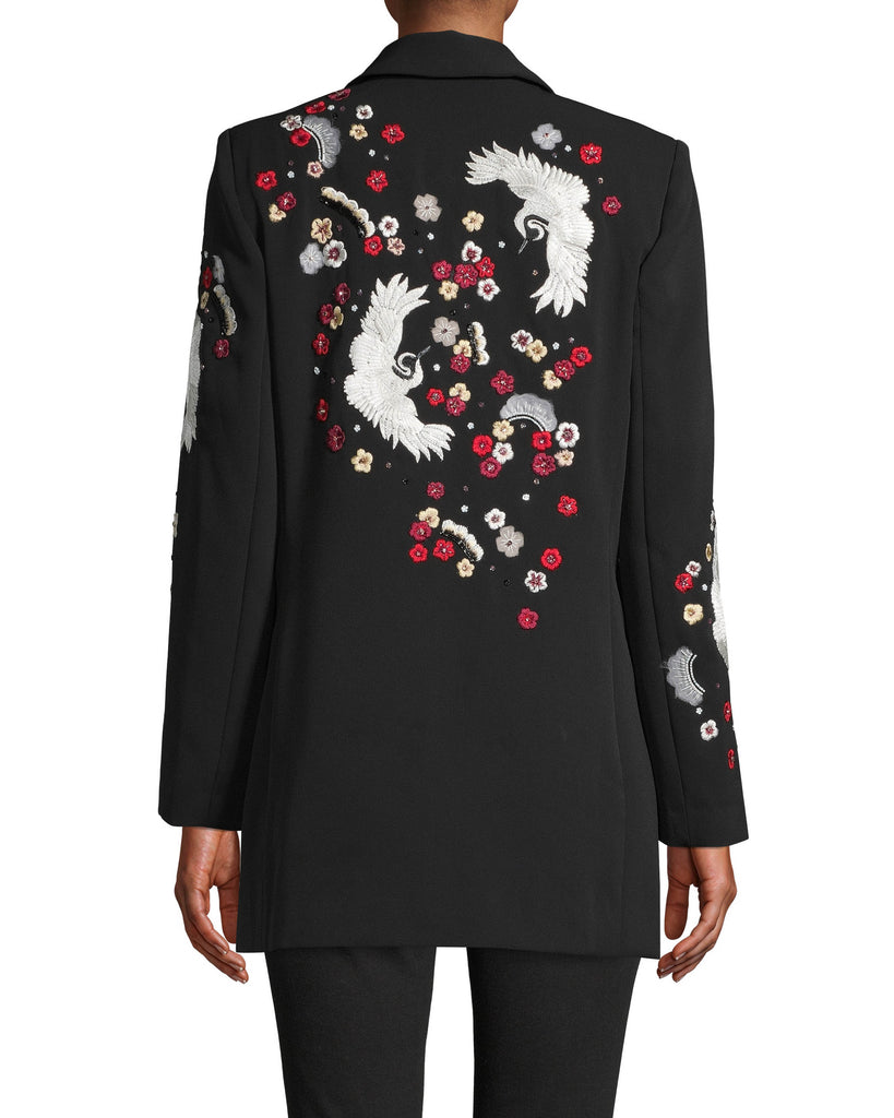 CO10135 - CRANE AND CHERRY BLOSSOM EMBROIDERED BLAZER - tops - shirts - NO MORE BORING BLAZERS. THIS DOUBLE BREASTED BLAZER IS ADORNED WITH CRANE AND CHERRY BLOSSOM EMBROIDERY UP THE SLEEVES AND ON THE BACK. Alternate View
