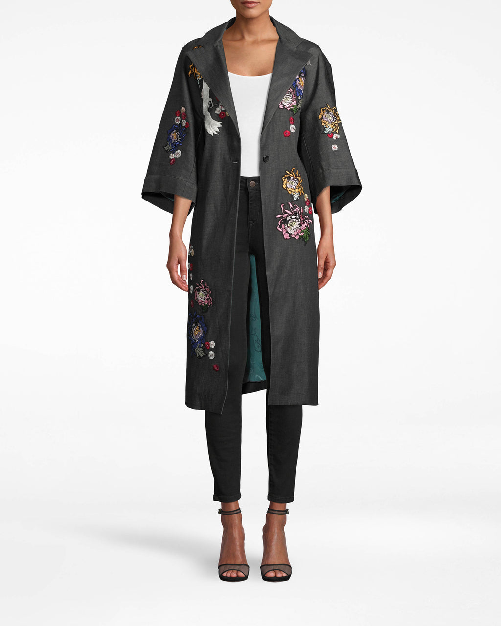 CO10136 - CRANE AND CHERRY BLOSSOM DENIM COAT - outerwear - coats - A NEW TAKE ON A CLOSET ESSENTIAL, THIS DENIM JACKET HITS JUST BELOW THE KNEE AND IS EMBROIDEREDWITH CRANE AND CHERRY BLOSSOM IMAGERY. SHORT, FLARED SLEEVES MAKE THIS JACKET PERFECT FOR LAYERING.