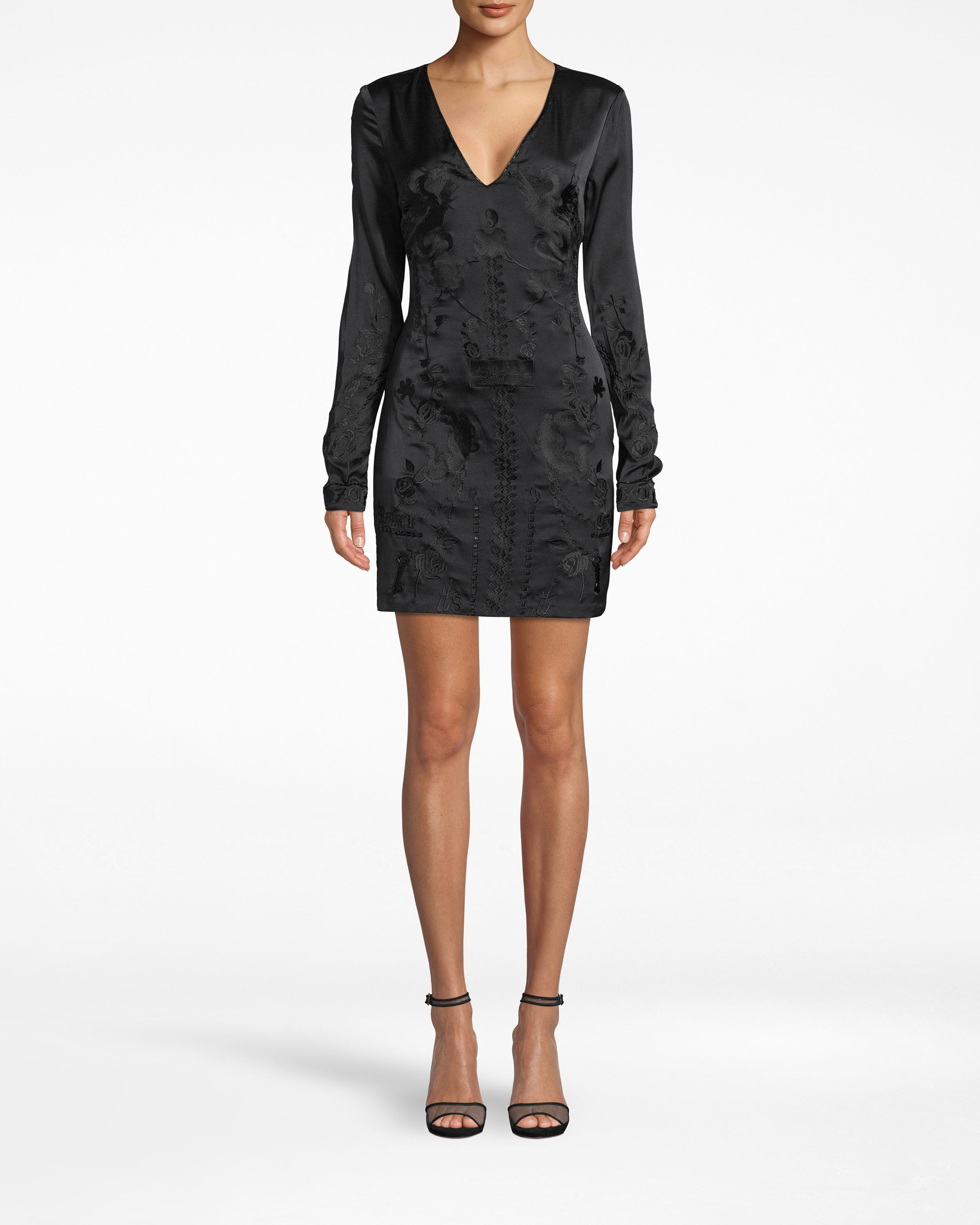 nicole miller stretch charmeuse embroidered mini dress in black | silk/polyester | size 0