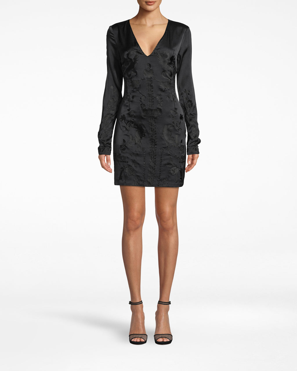 CO20074 - STRETCH CHARMEUSE EMBROIDERED MINI DRESS - dresses - short - Little black dress, plus some. This long sleeve dress features a deep v-neck, form-fitting silhouette and chic embroidery along the body and neckline. The sleeves fall past the wrists.