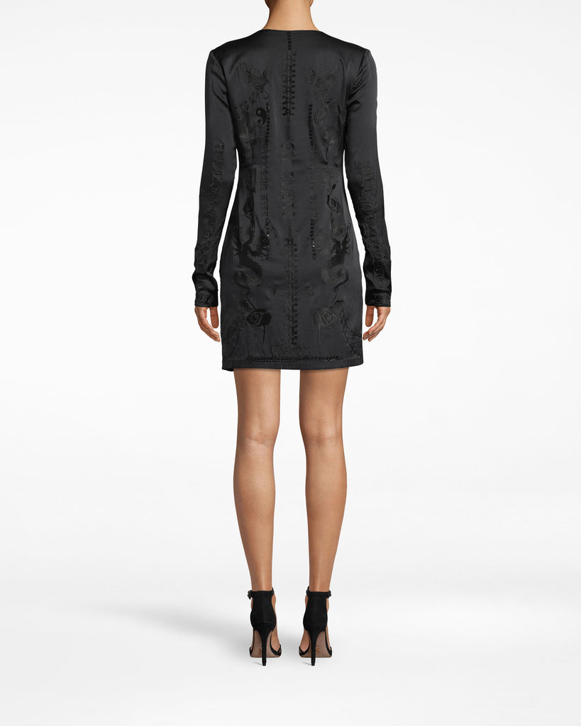 CO20074 - STRETCH CHARMEUSE EMBROIDERED MINI DRESS - dresses - short - Little black dress, plus some. This long sleeve dress features a deep v-neck, form-fitting silhouette and chic embroidery along the body and neckline. The sleeves fall past the wrists. Alternate View