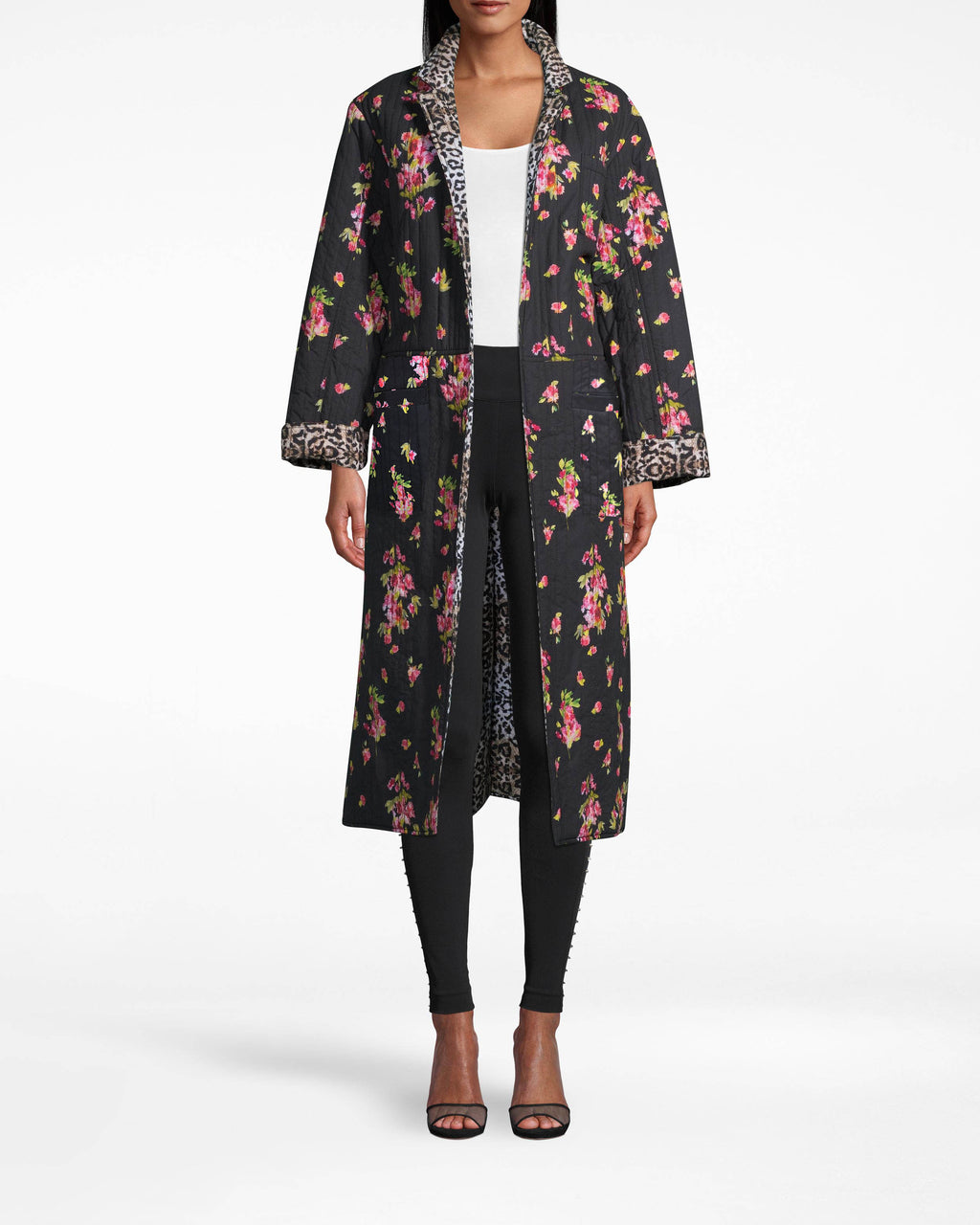 CO20165 - PINK DAWN REVERSIBLE OVERSIZED JACKET - outerwear - jackets - FLORA AND FAUNA. LEOPARD AND FLORAL PRINTS ARE AN UNEXPECTED BUT WELCOME SURPRISE ON THIS STATEMENT COAT. ANKLE LENGTH WITH A TIE WAIST. PAIR WITH ALLBLACK AND RAINBOOTS FOR AN ELEVATED RAINY DAY LOOK.