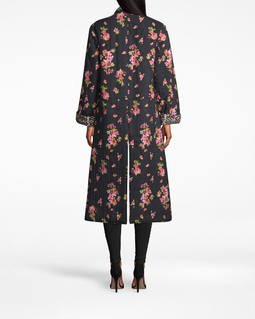 CO20165 - PINK DAWN REVERSIBLE OVERSIZED JACKET - outerwear - jackets - FLORA AND FAUNA. LEOPARD AND FLORAL PRINTS ARE AN UNEXPECTED BUT WELCOME SURPRISE ON THIS STATEMENT COAT. ANKLE LENGTH WITH A TIE WAIST. PAIR WITH ALLBLACK AND RAINBOOTS FOR AN ELEVATED RAINY DAY LOOK. Alternate View