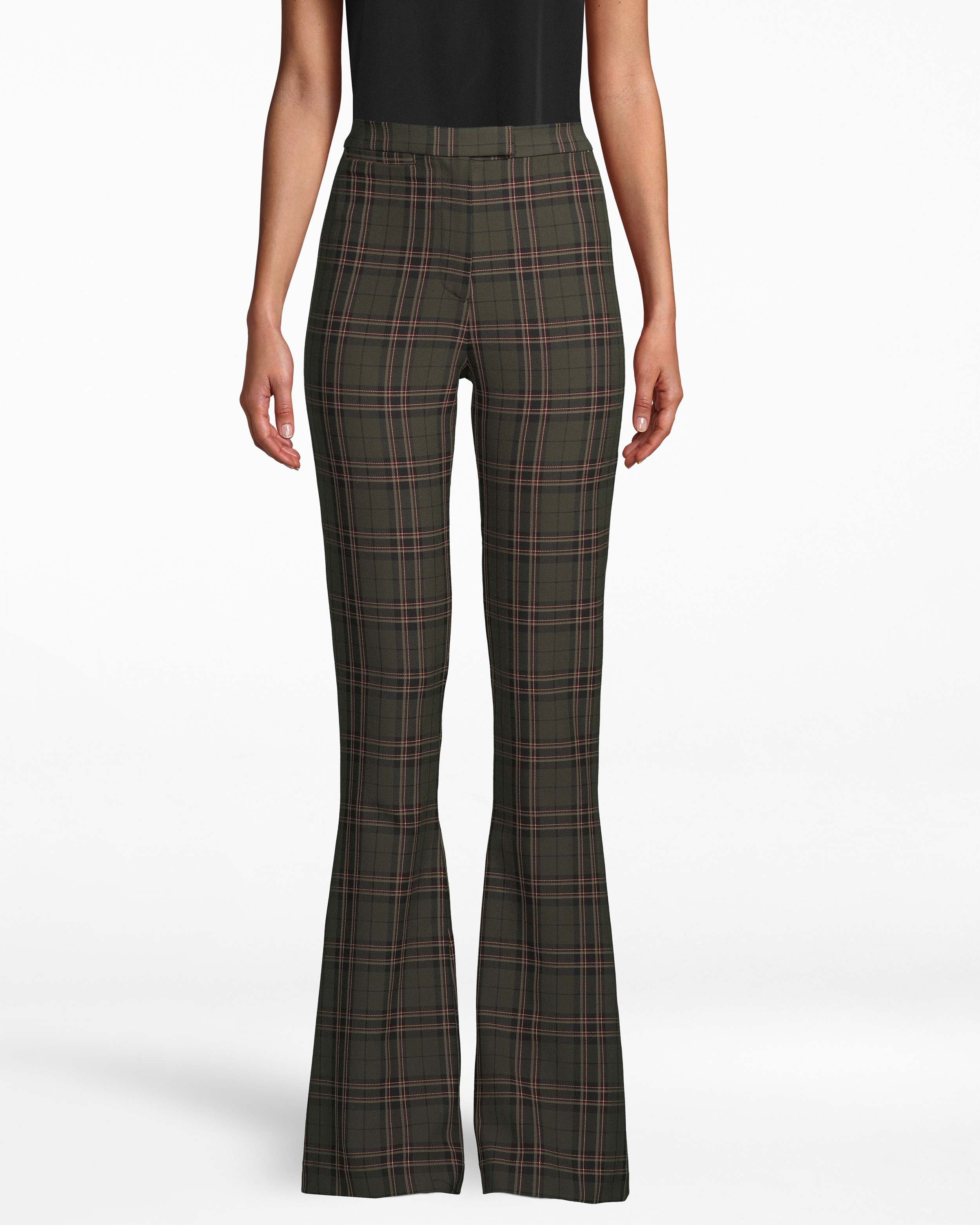 nicole miller jagger plaid bell bottom pant in olive green | polyester/spandex/viscose | size 0