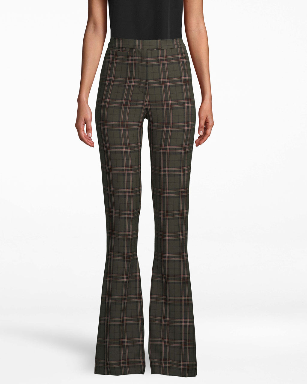 CP18016 - JAGGER PLAID BELL BOTTOM PANT - bottoms - pants - These ultra chic pants feature a slimming bell bottom silhouette and timeless plaid print. Featuring a hidden hook and bar and zipper for closure for a tailored look. These floor length pants pair with everything from fashion sneakers to heels. Add 1 line break Stylist tip: Style with one of our new cashmere sweaters for an effortless look.