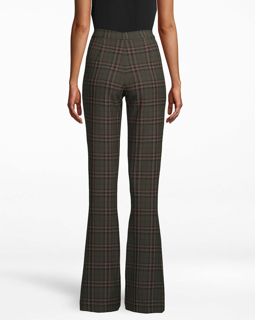 CP18016 - JAGGER PLAID BELL BOTTOM PANT - bottoms - pants - These ultra chic pants feature a slimming bell bottom silhouette and timeless plaid print. Featuring a hidden hook and bar and zipper for closure for a tailored look. These floor length pants pair with everything from fashion sneakers to heels. Add 1 line break Stylist tip: Style with one of our new cashmere sweaters for an effortless look. Alternate View