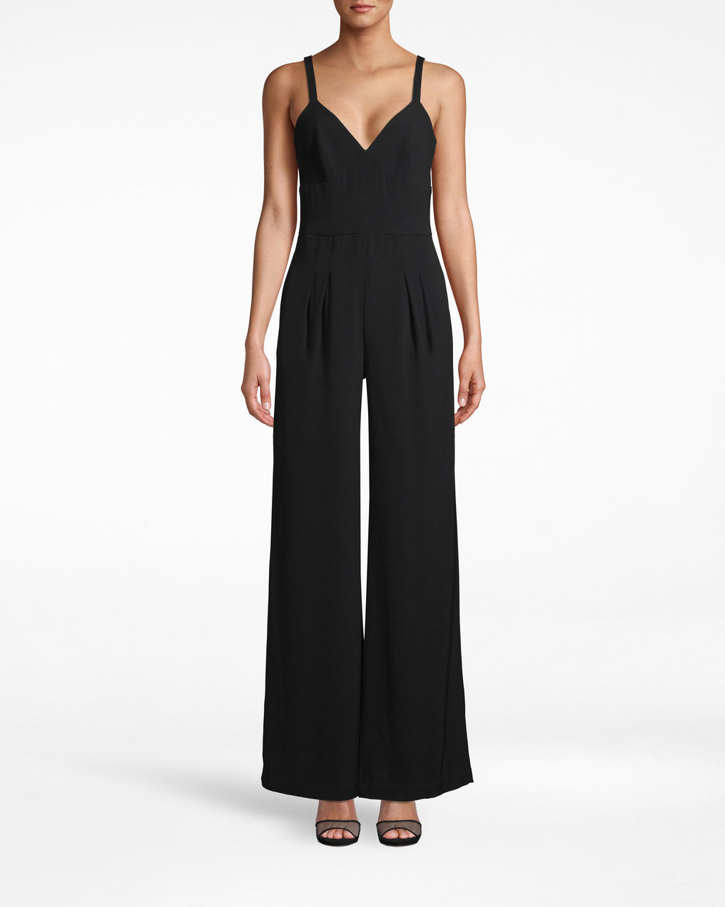 "CP18064 - SATIN BACK CREPE ""MOLLY"" JUMPSUIT - bottoms - pants - THIS CLASSIC JUMPSUIT EASILY TRANSITIONS FROM SEASON TO SEASON. MADE FROM SMOOTH SATIN BACK CREPE WITH SPAGHETTI STRAPS AND A SLIGHT PLEATED FRONT. Add 1 line break STYLIST TIP: WEAR WITH A DENIM JACKET AND SNEAKERS FOR A CASUAL LOOK OR HEELS AND STATEMENT FOR DRESSY OCCASIONS."