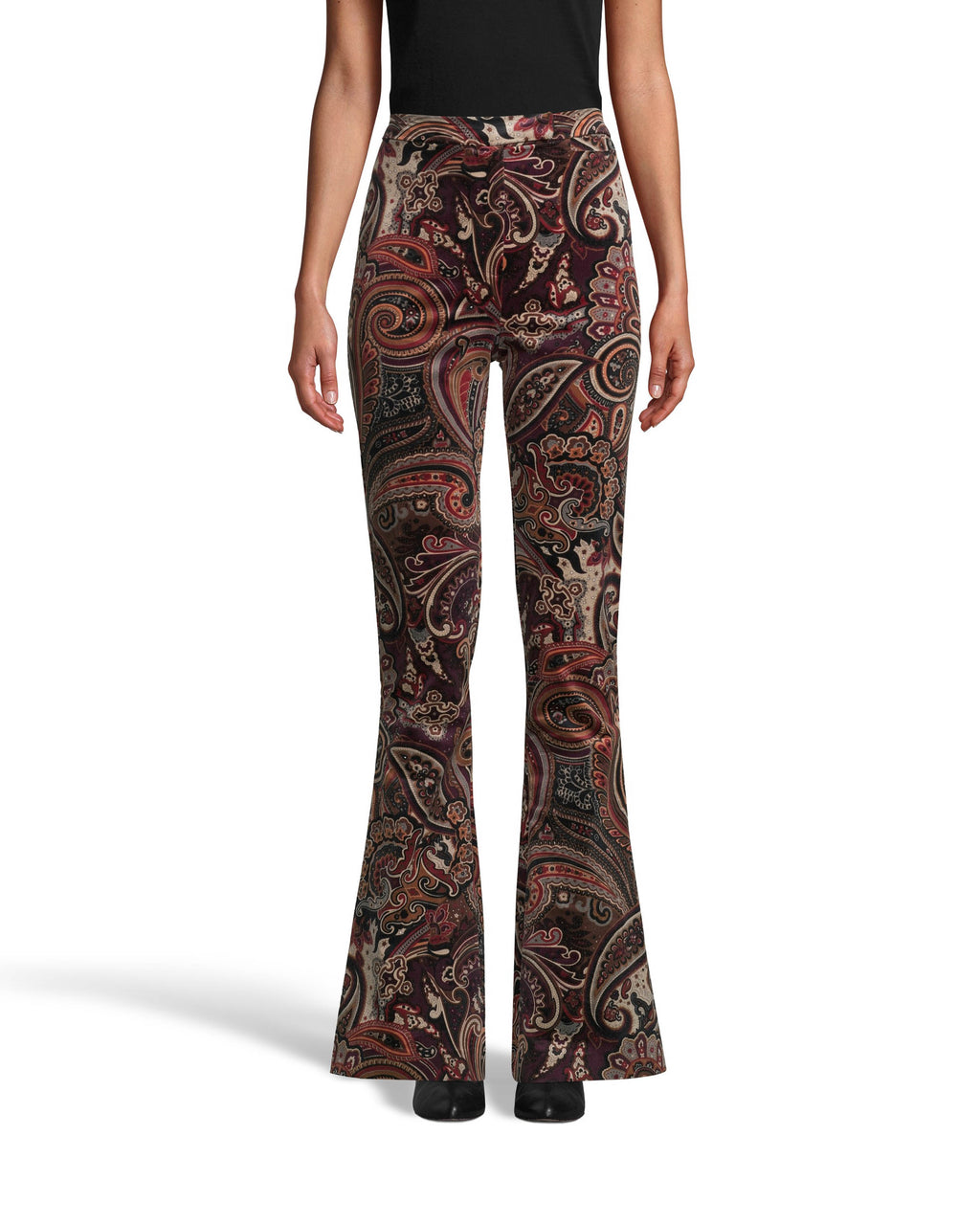 CP18123 - PAISLEY VELVETEEN BELL BOTTOM PANT - outerwear - blazers - Designed in super soft velvet in our new paisley print, these bell bottom pants are sure to standout. This high waisted style features a concealed hook and bar and zipper for closure for a tailored look. Add 1 line break Stylist tip: Pair with the matching blazer like on the Fall 2020 Runway.