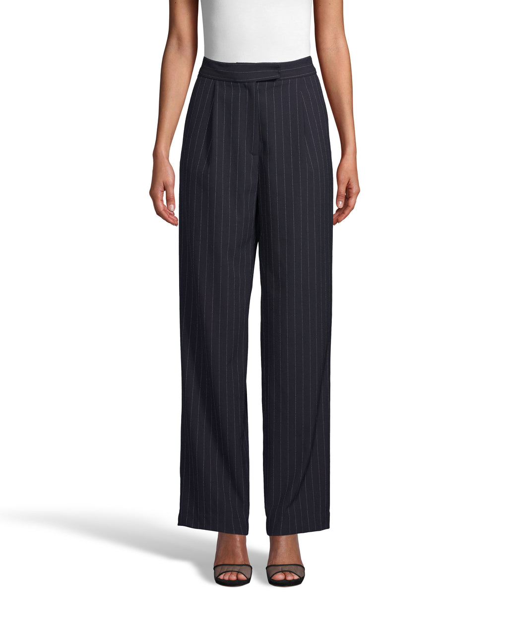 CP18233 - PINSTRIPE PLEATED FRONT FRONT TROUSER - bottoms - pants - These classic trousers have a flattering pleated front and hit just above the ankle. Featuring a hook and bar and zipper closure for a tailored finish. Add 1 line break Stylist tip: Pair with a white top and the matching jacket for a complete set.
