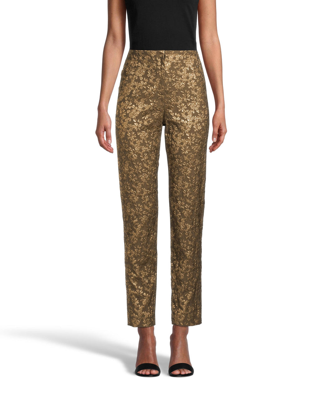 CP18468 - METALLIC FLORAL PANT - bottoms - pants - These pants are perfectly tailored and slightly cropped for a sleek and slimming silhouette. Decorated with ornate metallic floral details throughout. Add 1 line break Stylist tip: Pair back with the matching blazer for a monochrome suiting moment.