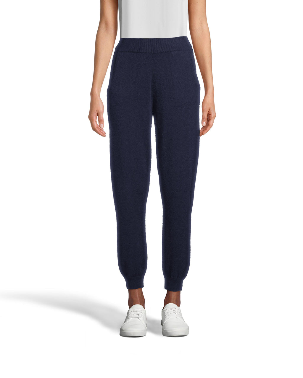 CP18507 - CASHMERE JOGGER PANTS - bottoms - pants - These joggers may look basic, but they're crafted from luxurious 100% cashmere. Designed in a classic jogger silhouette with a drawstring waist and cuffed ankles. Add 1 line break Stylist tip: Pair with a cashmere sweater for complete cozy ensemble.