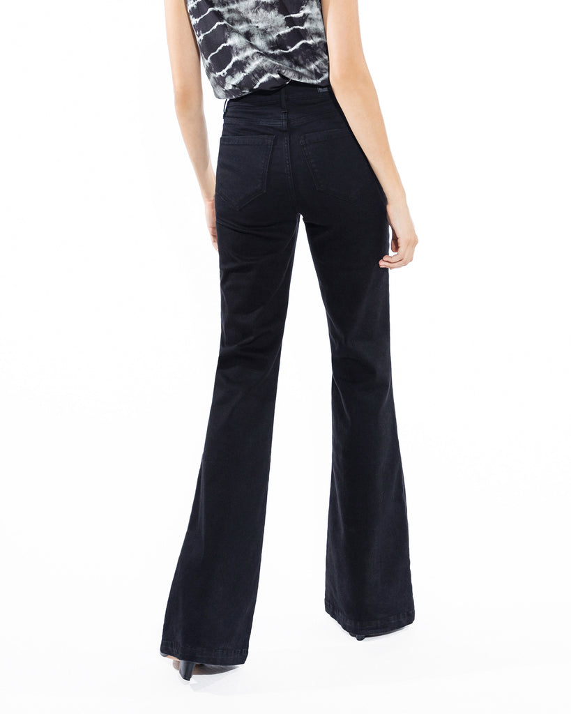 CP18512 - BLACK FLARE JEANS - bottoms - pants - This wear everywhere style will be on repeat all winter long. Made from super soft denim, this pair of classic flare jeans hugs your curves and flares out around for your calves for a flattering effect. Add 1 line break Stylist tip: Wear with anything from cashmere sweaters to our silky date night tops. Alternate View