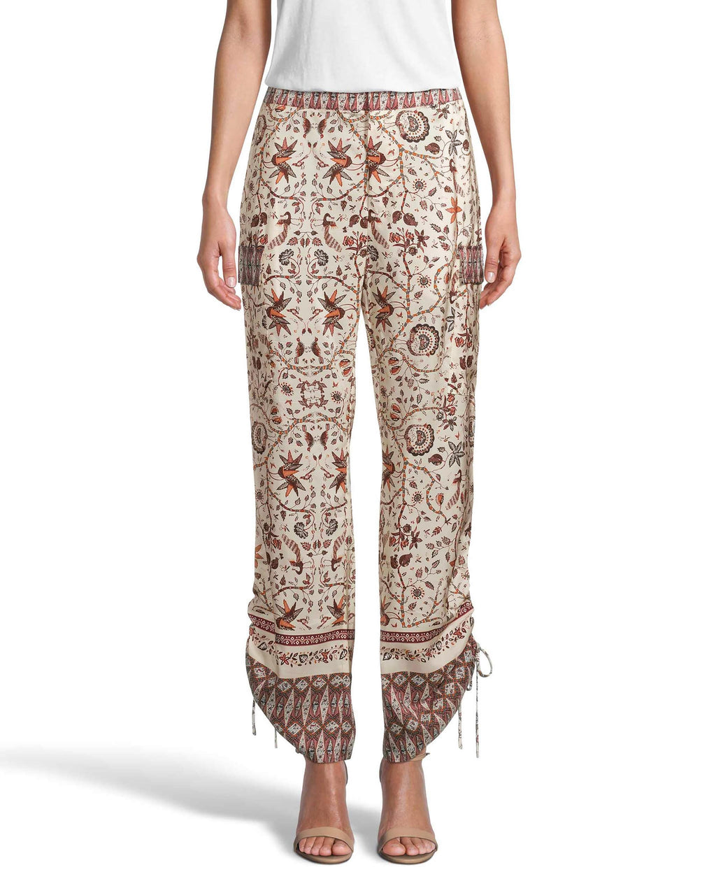 CP18628 - JAKARTA PRINT SILK CARGO PANTS - bottoms - pants - Designed in one of our best selling silhouettes, our classic cargo pants are updated in our new jakarta print for a resort update. These lightweight silk pants feature adjustable ruching and pockets on the side. Add 1 line break Stylist Tip: Pair with the matching silk jakarta top.