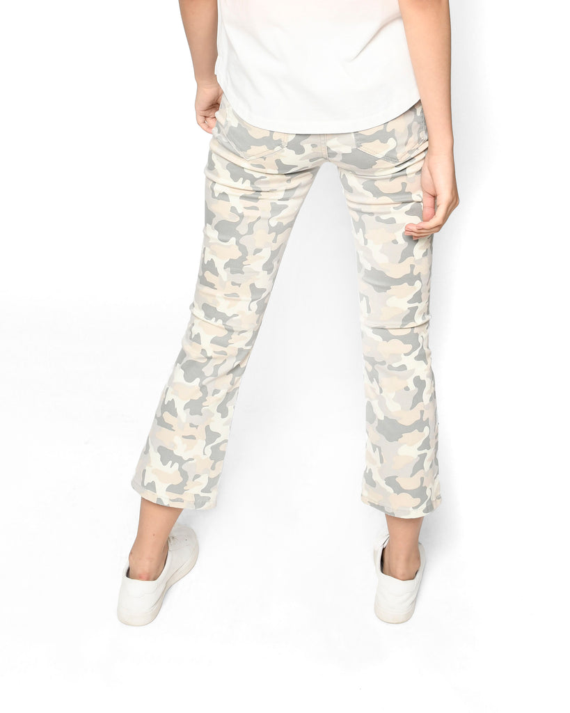 CP18644 - CAMO CROPPED FLARE JEAN - bottoms - denim - Crafted from soft stretch denim, this on-trend silhouette features a camo print in either classic green or blush pink. The cropped and flared hem flatters any body type and is perfect for showing off your favorite shoes. Add 1 line break Stylist Tip: Pair with heeled boots and a cashmere sweater. Alternate View