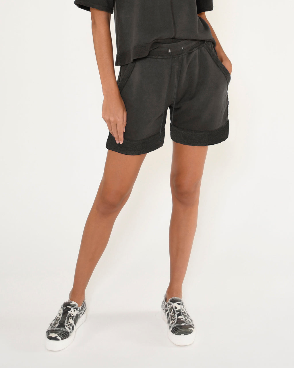 CP18800 - TERRY SHORT - bottoms - shorts - Our slate gray terry shorts feature a monochrome evil eye, side pockets and a drawstring waist. Add 1 line break Stylist Tip: Pair with a white tee or the coordinating top.