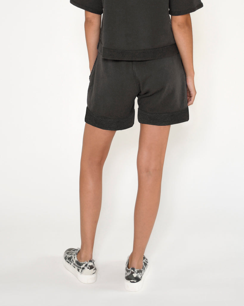 CP18800 - TERRY SHORT - bottoms - shorts - Our slate gray terry shorts feature a monochrome evil eye, side pockets and a drawstring waist. Add 1 line break Stylist Tip: Pair with a white tee or the coordinating top. Alternate View