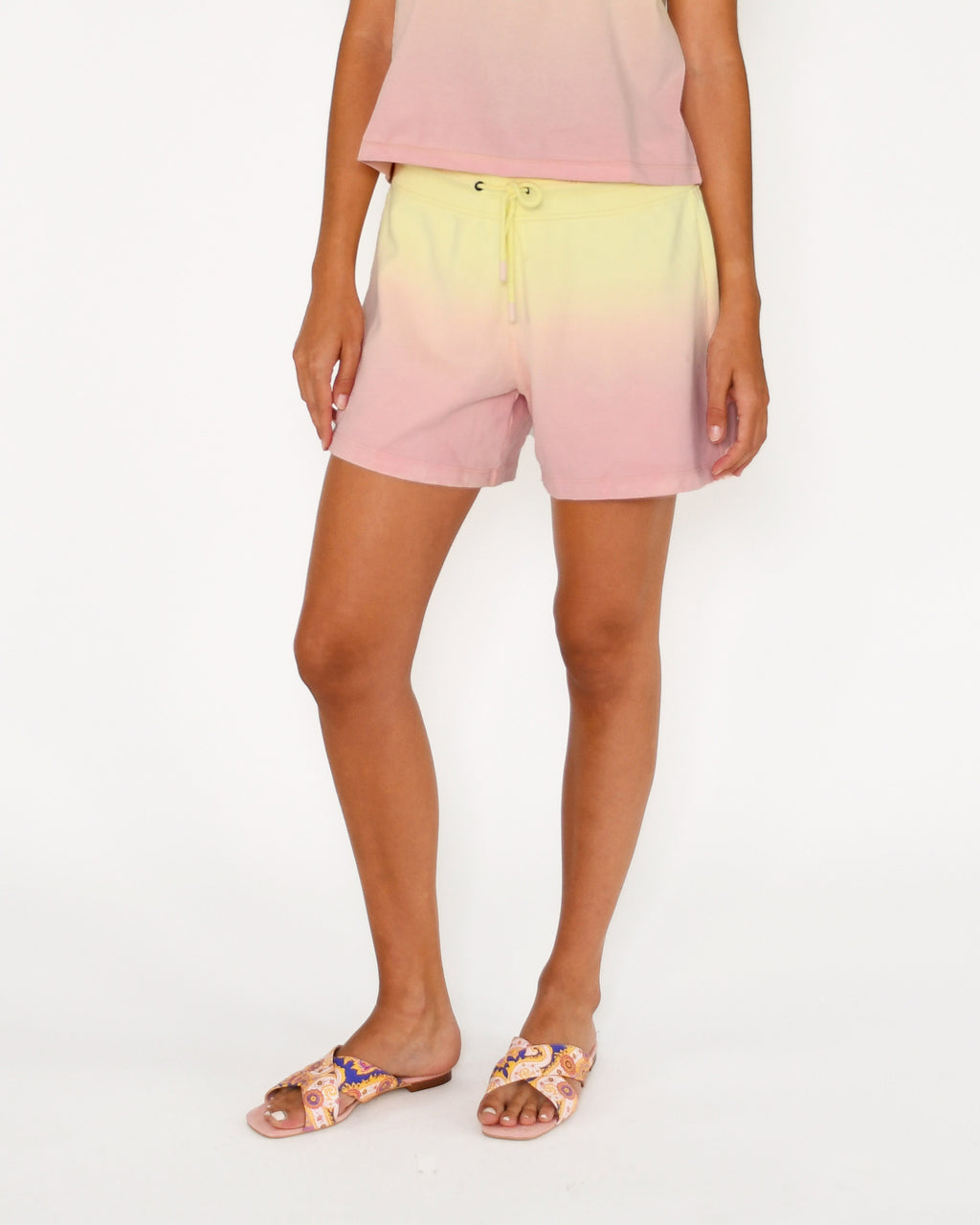 CP18815 - SORBET DIP DYE SHORTS - bottoms - pants - Our sorbet dip dye shorts hit mid thigh and feature a classic drawstring waist. Add 1 line break Stylist Tip: Pair with the matching t-shirt for warm spring days.