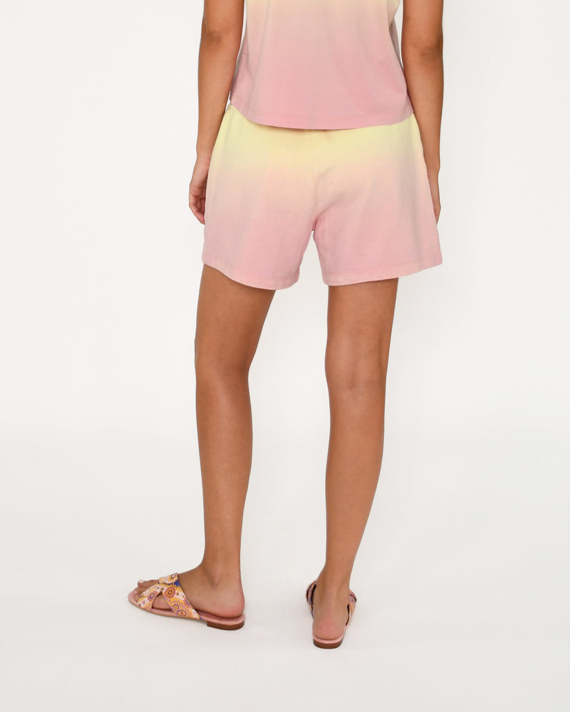 CP18815 - SORBET DIP DYE SHORTS - bottoms - pants - Our sorbet dip dye shorts hit mid thigh and feature a classic drawstring waist. Add 1 line break Stylist Tip: Pair with the matching t-shirt for warm spring days. Alternate View