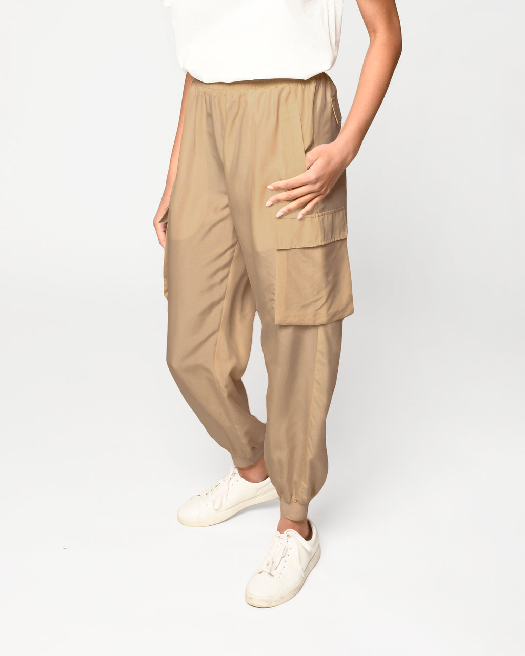 CP18845 - SOLID SILK JOGGER - bottoms - pants - Crafted from 100% silk, these lightweight joggers are perfect from transitioning from home to street. Add 1 line break Stylist Tip: Style with our silk t-shirt for a coordinating set.